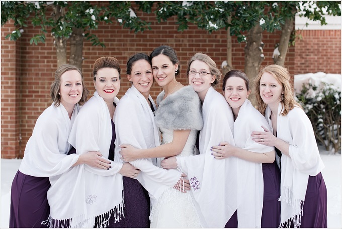 bride and bridesmaids with pashminas in this Sedgefield Country Club wedding| Greensboro, North Carolina wedding photographed by Michelle Robinson Photography - http://emmalinebride.com/real-weddings/sedgefield-country-club-wedding/