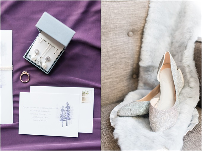 bride's heels and jewelry in this Sedgefield Country Club wedding| Greensboro, North Carolina wedding photographed by Michelle Robinson Photography - http://emmalinebride.com/real-weddings/sedgefield-country-club-wedding/