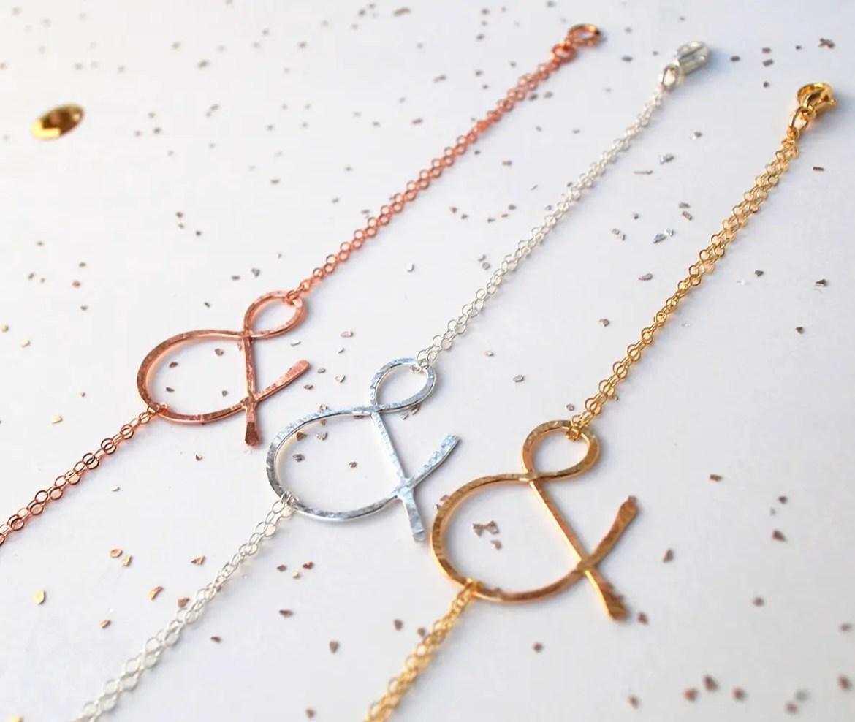 rose gold ampersand bracelet