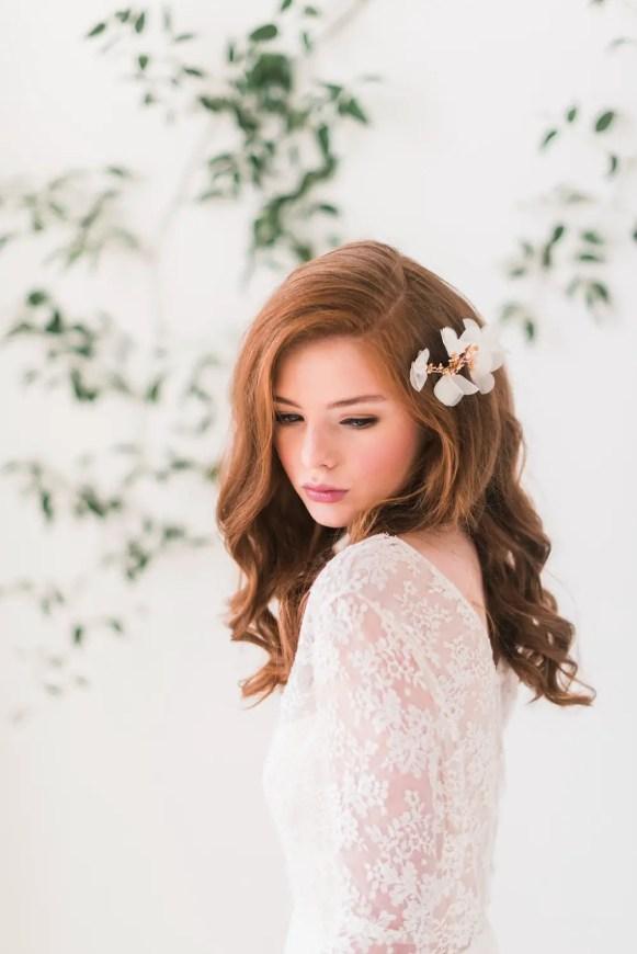 chiffon flower hair combs