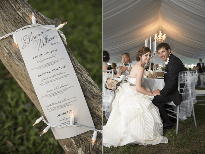 bride and groom sit at reception in this Crystal Coast Wedding | North Carolina wedding photographed by Ellen LeRoy Photography - http://emmalinebride.com/real-weddings/breathtaking-crystal-coast-wedding-mara-will-married/