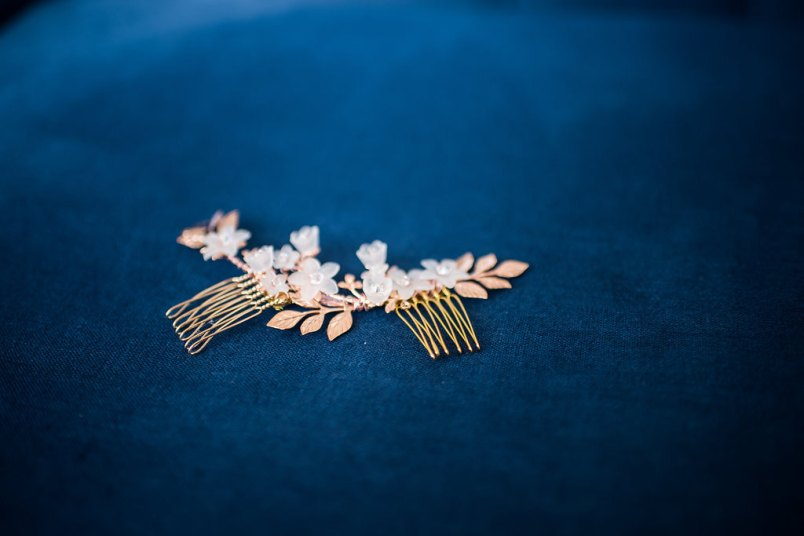 rose gold floral comb - 2