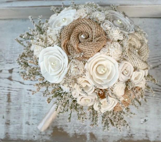 sola flower bouquet with burlap