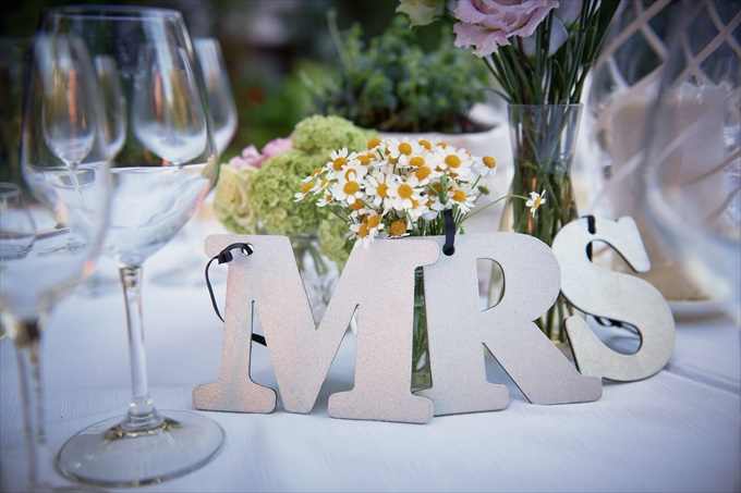 mrs. letter sign decoration in this destination wedding by Venice, Italy Wedding Planner - Venice Events| An Intimate + Beautiful Venice Wedding at Palazzo Cavalli - http://emmalinebride.com/real-weddings/beautiful-venice-wedding-at-palazzo-cavalli/