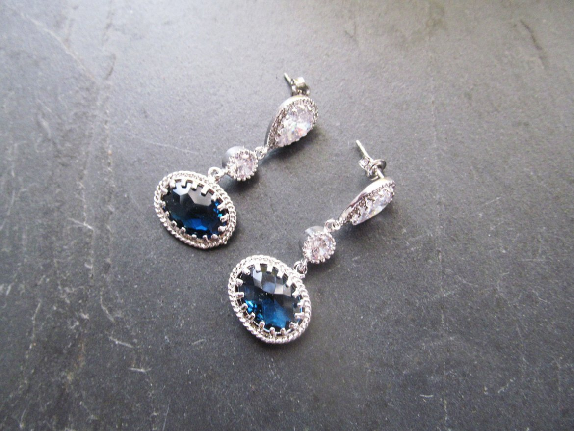 navy blue wedding earrings by twixt designs