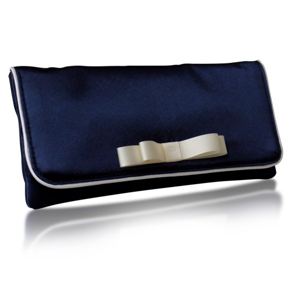 navy satin clutch