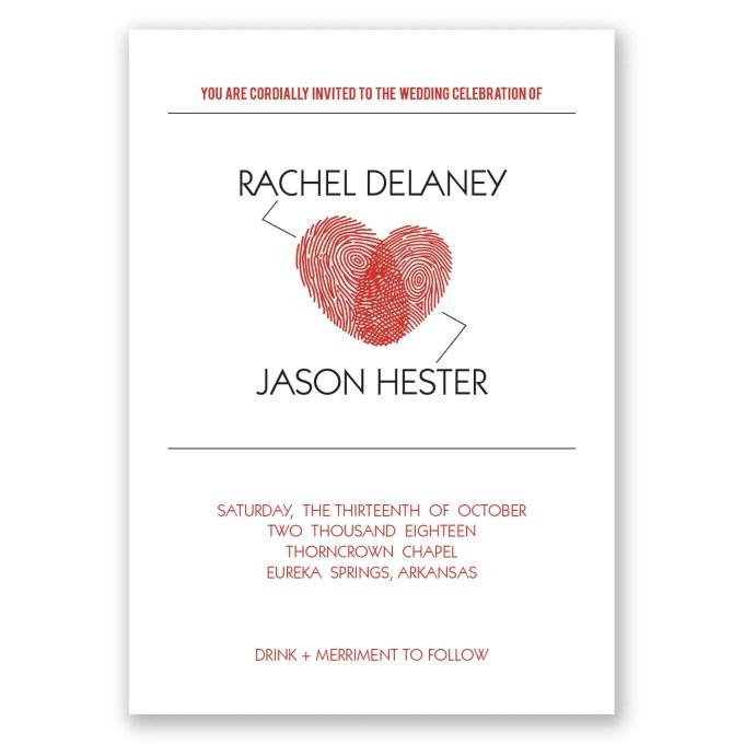 fingerprint invite design - where to buy affordable wedding invitations