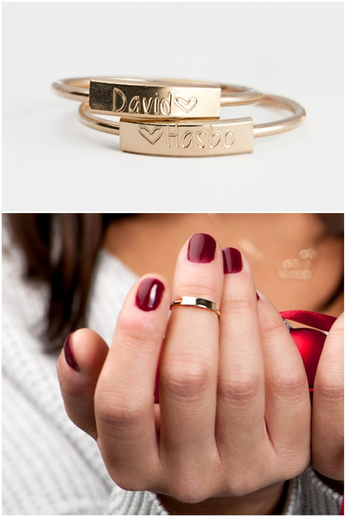 personalized stacking rings with names