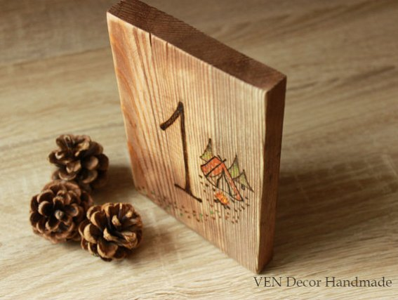 rustic wood burned table numbers
