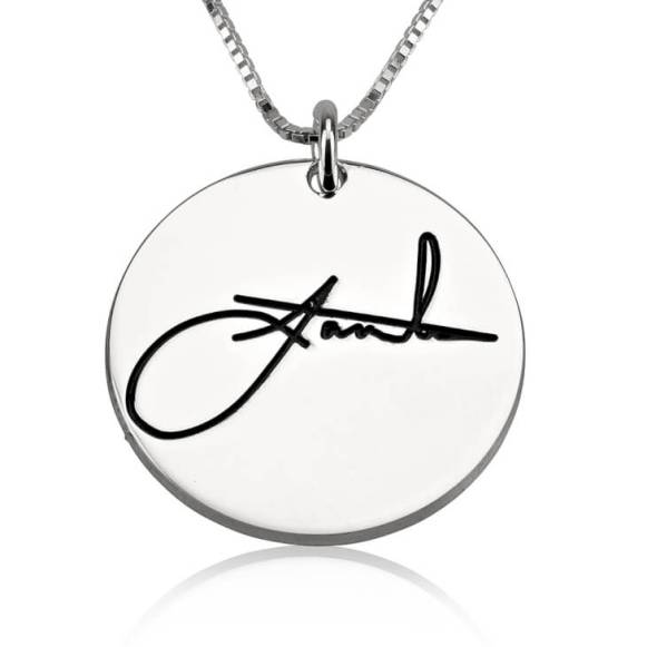 round signature necklace silver