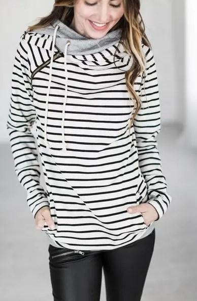 tan stripe doublehood bridesmaid sweatshirts