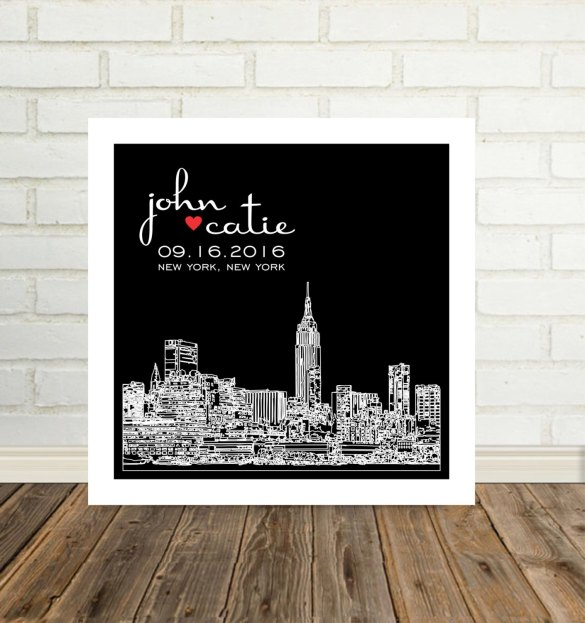 personalized city skyline wall art new york