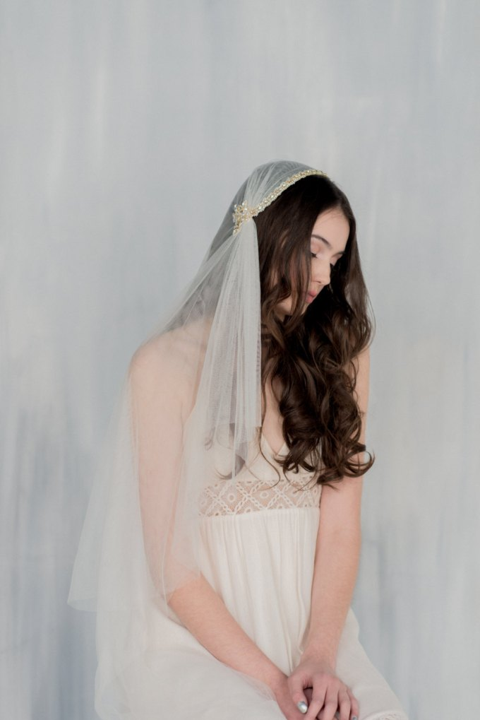 wedding hair down with veil styles // veil by blair nadeau millinery