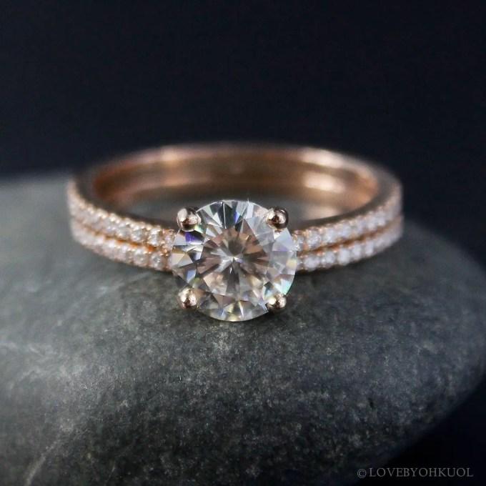 moissanite rose gold engagement rings