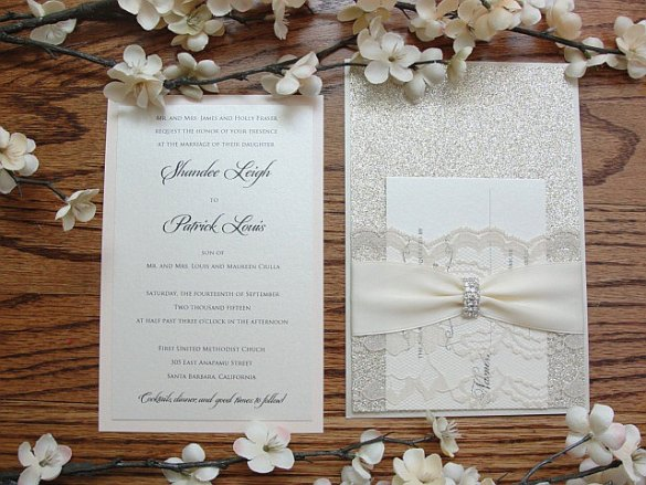 jeweled wedding invitations