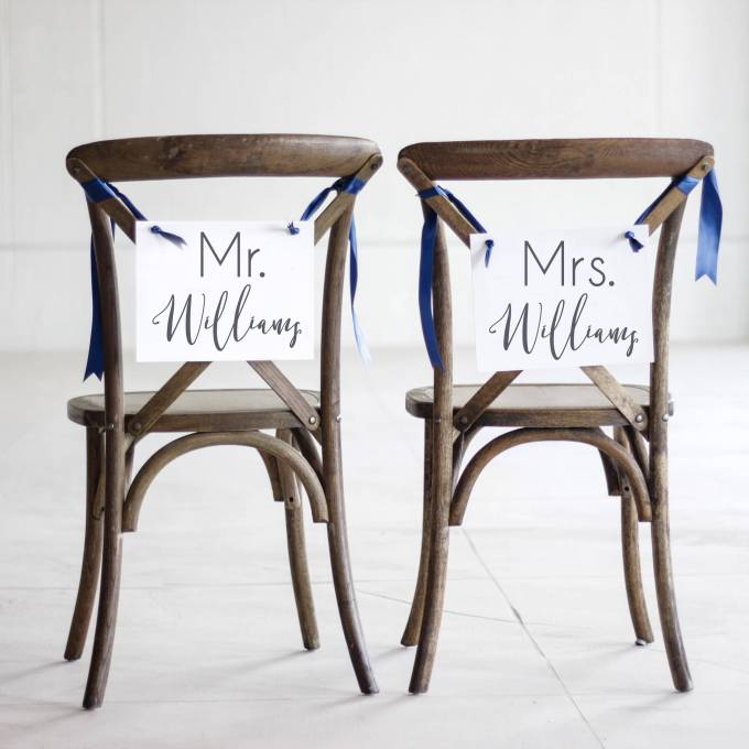 Mr and Mrs Chair Signs - via http://emmalinebride.com/decor/mr-and-mrs-chair-signs/