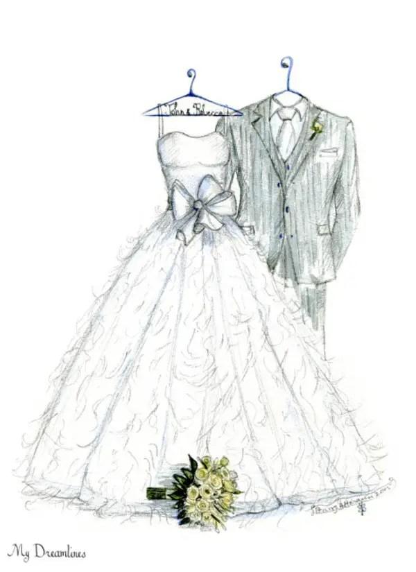 wedding dress drawing / sketch