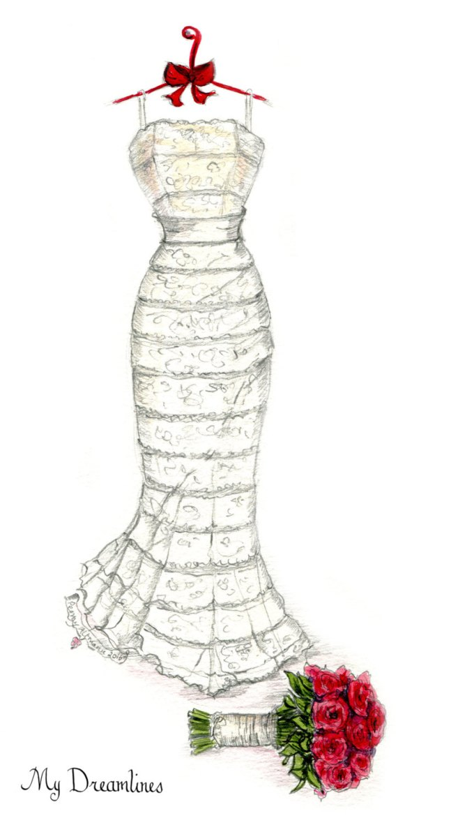 wedding dress sketch by dreamlines | via http://emmalinebride.com/bride/dress-sketch-wedding/