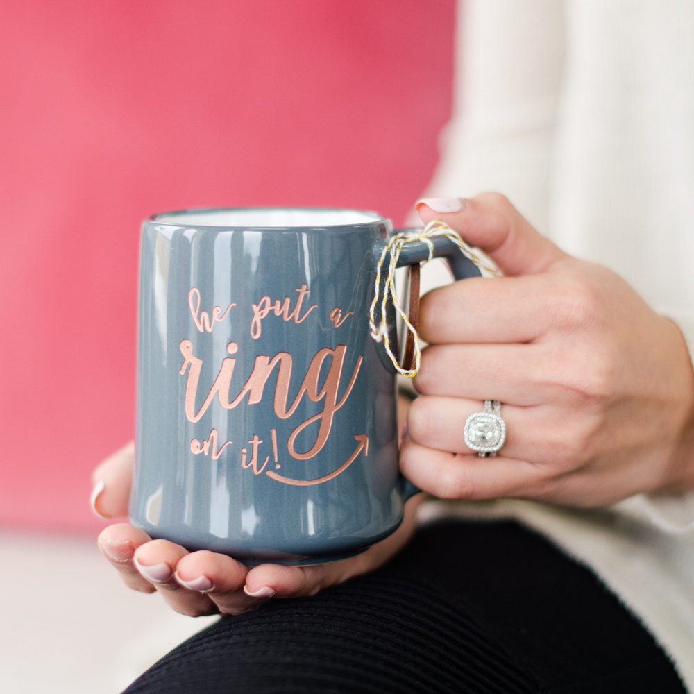 engraved he put a ring on it mug