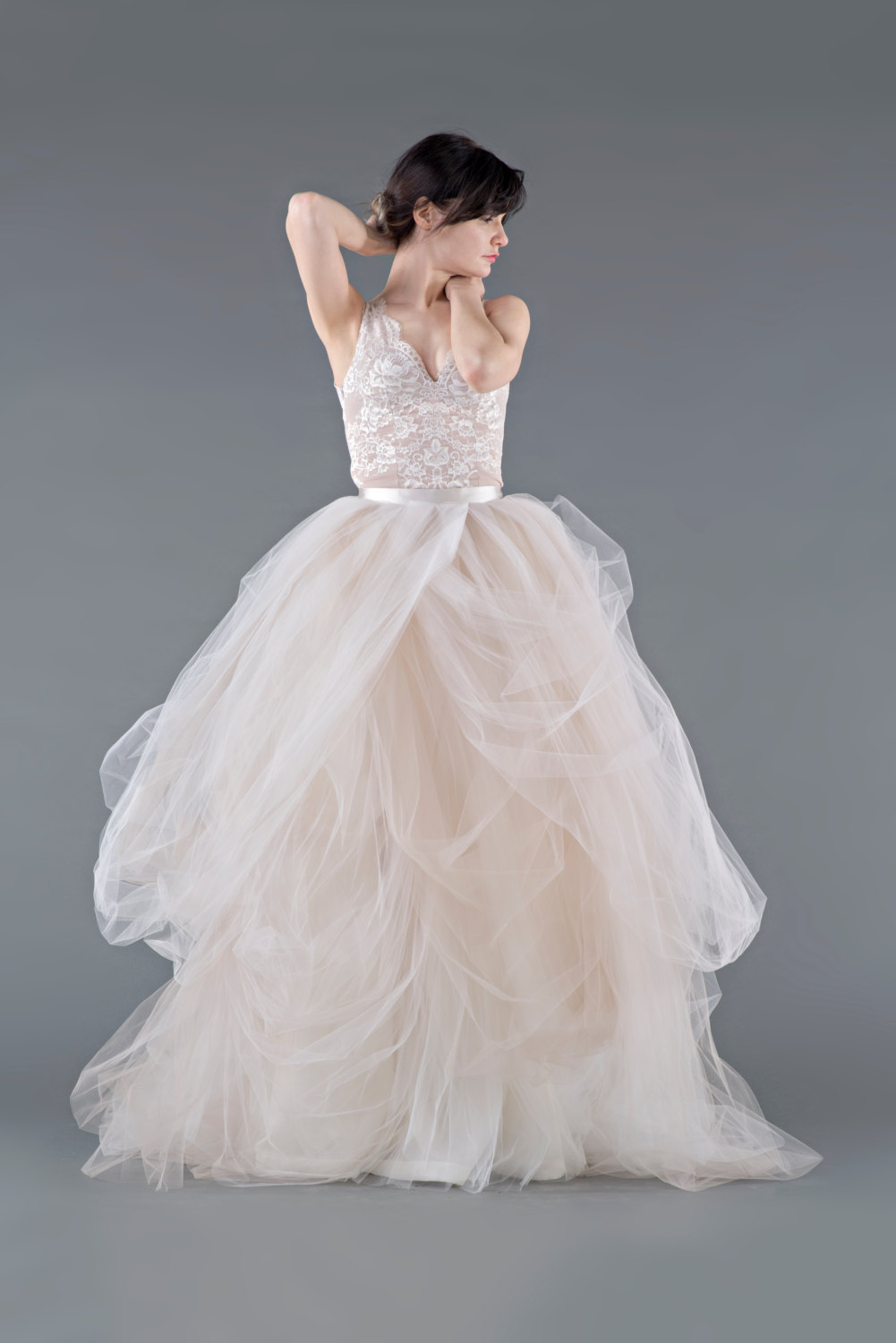 two piece tulle wedding dress