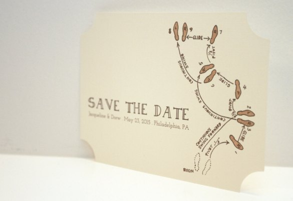 dance steps save the date by golden silhouette