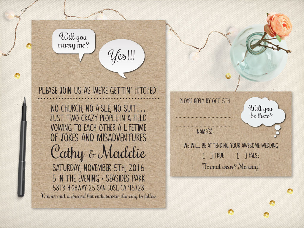 Funny Wedding Invitation Wording: 75 Fun + Unique Wedding Invitations For Cool Couples