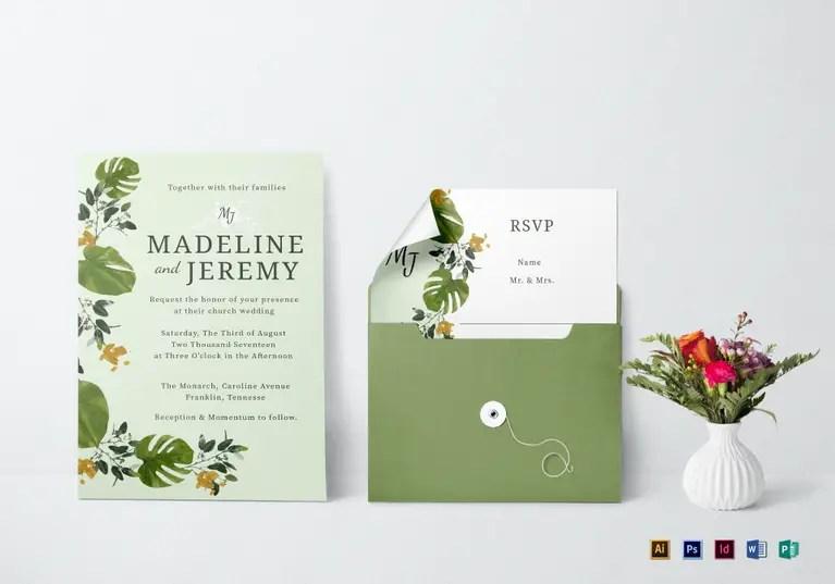 Best Printable Wedding Invitation Templates In PSD Word - Garden wedding invitations templates