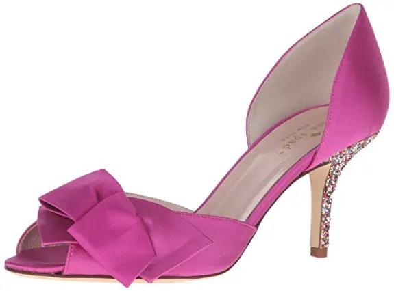 low wedding heels in fuchsia