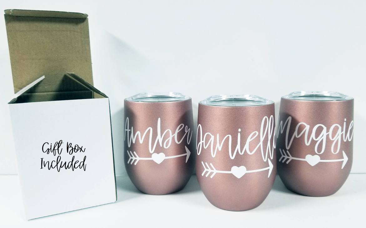 bridesmaid wine tumblers