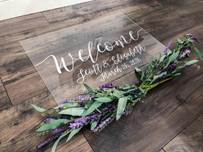 acrylic wedding signs via https://etsy.me/2M6JAmE