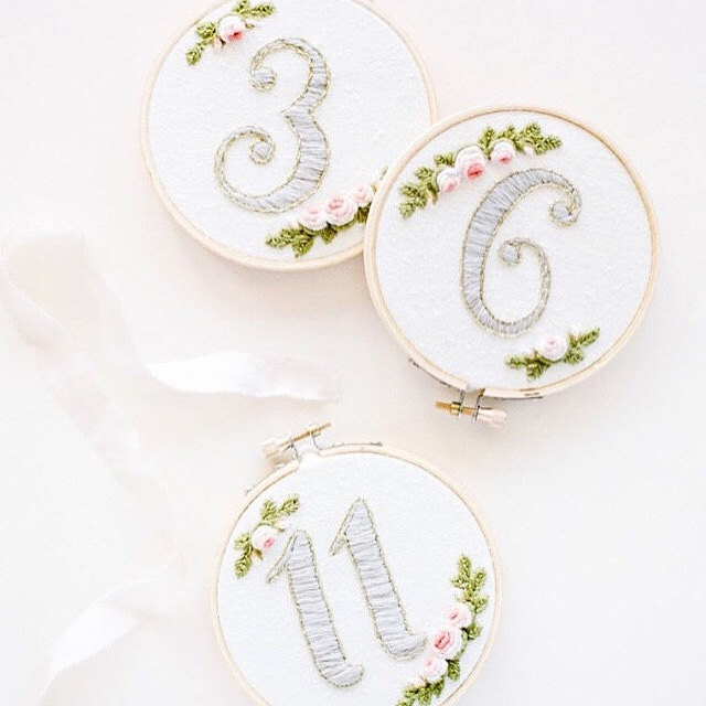 gray embroidered wedding table numbers