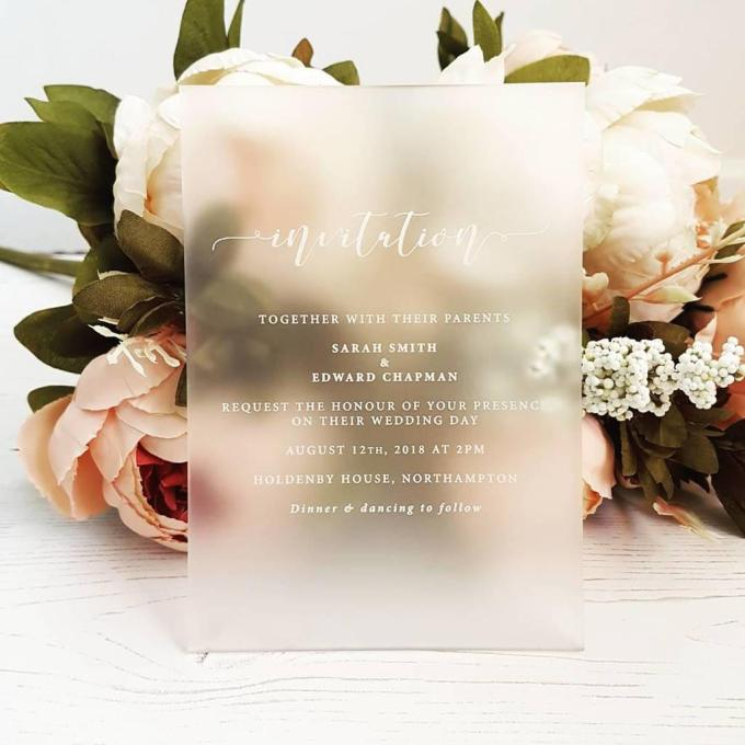 frosted acrylic wedding invitations