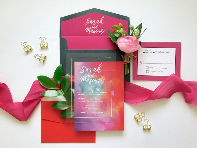 acrylic wedding invitations by brown fox creative