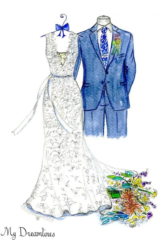 wedding dress sketch gift by mydreamlines