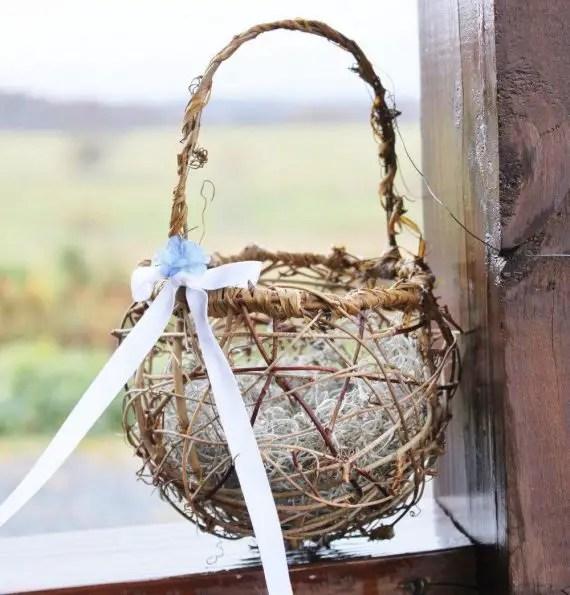 flower basket made of twig grapevine