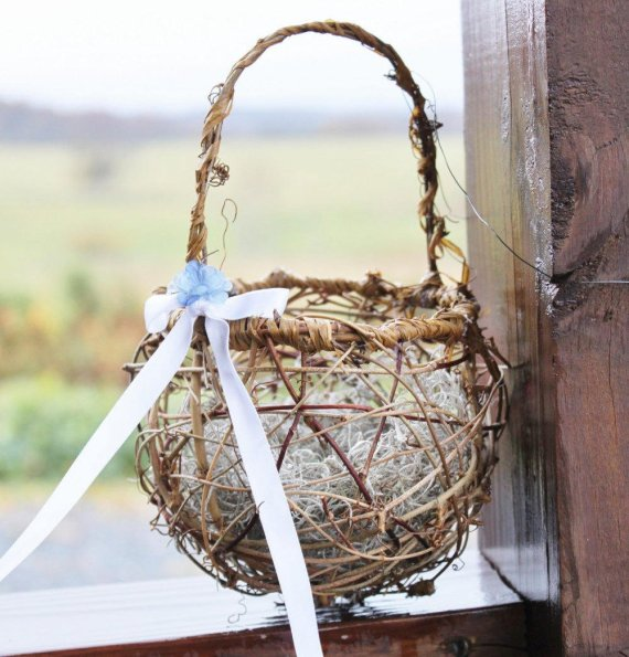 flower basket made of twig grapevine