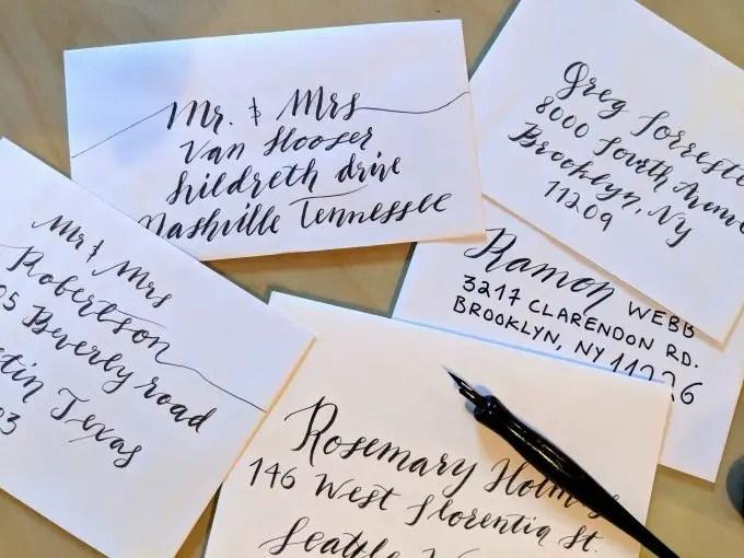 calligraphy envelopes for wedding invitations
