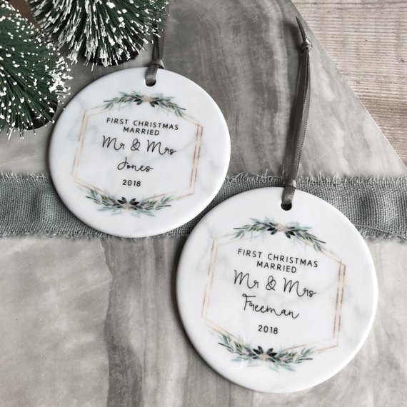 our first christmas ornament - first Christmas married ornament