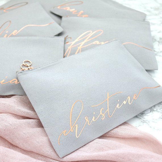 gray bridesmaid makeup bags with gold script
