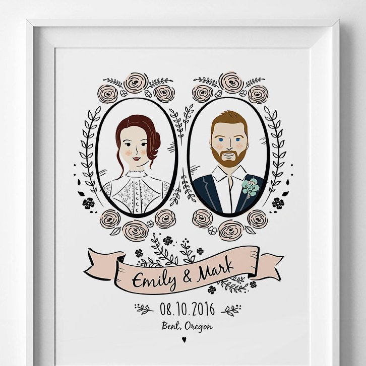 custom couple illustration with wedding date and names
