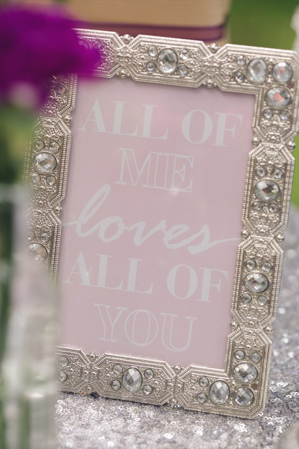 All of Me Loves All of You Signage | Rustic Glam Bridal Shower | styled: adore amor event planning, photo: little blue bird photography | http://emmalinebride.com/shower/rustic-glam-bridal-shower/