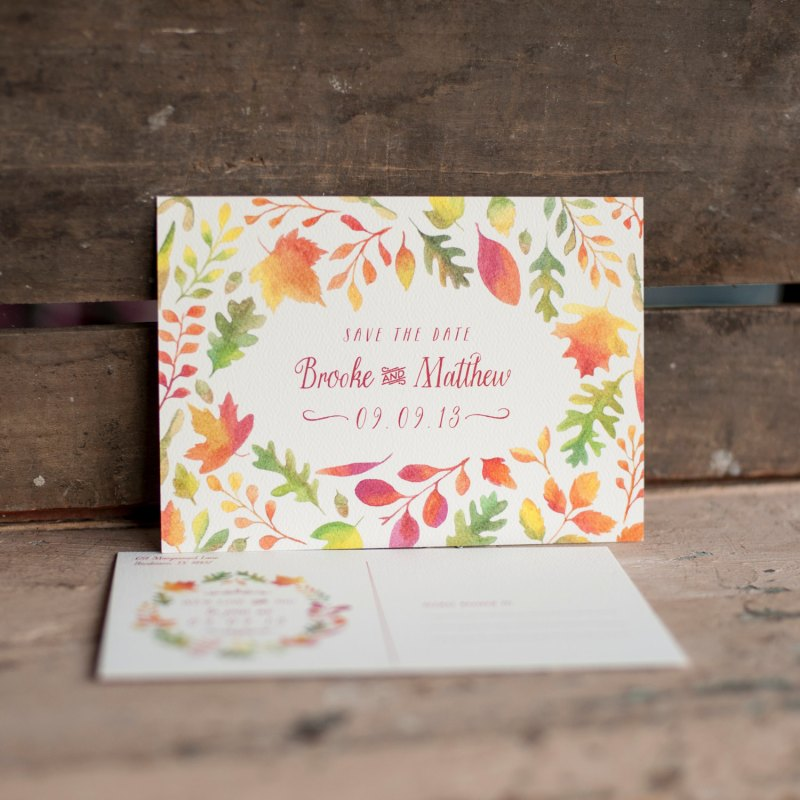 Autumn Leaves | Save the Date Postcards
