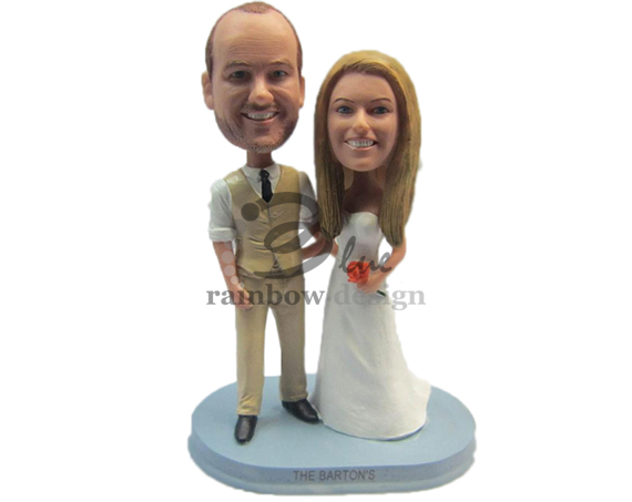 Custom Wedding Bobbleheads Bride and Groom