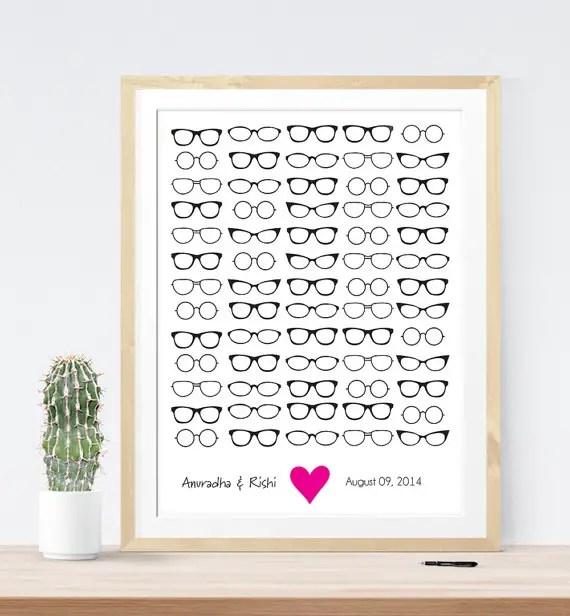 Hipster Themed Wedding Eyeglass Guest Book | 21 Unique Themed Guest Book Alternatives via http://emmalinebride.com/reception/themed-guest-book-alternatives/