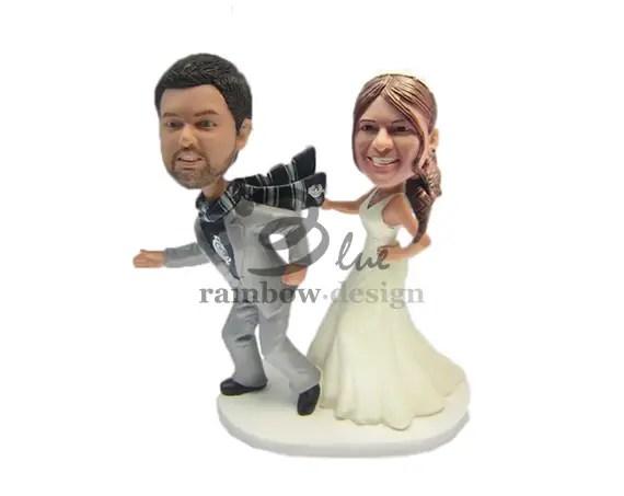 Groom Running From Bride Custom Wedding Bobbleheads Cake Topper