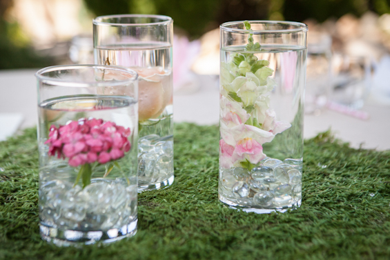 Johnstone Studios - fairytale nevada wedding, votive glasses with flowers