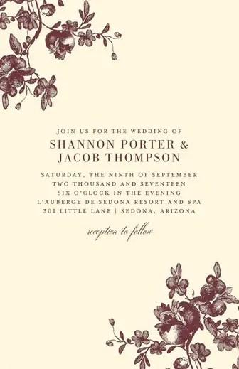 Lasting Blossoms Letterpress Invitations Weddings