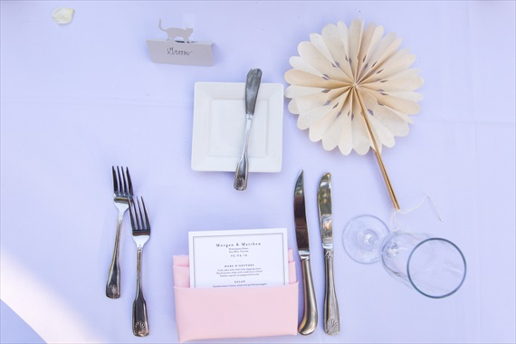 Filda Konec Photography - Hemingway House Wedding - wedding place setting with paper folded fan
