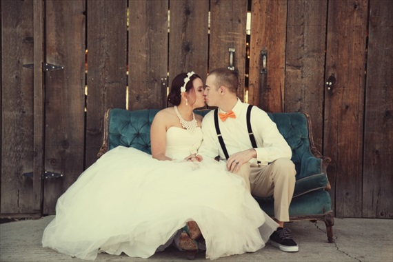 Drozian Photoworks - bride and groom kissing - diy rustic barn wedding