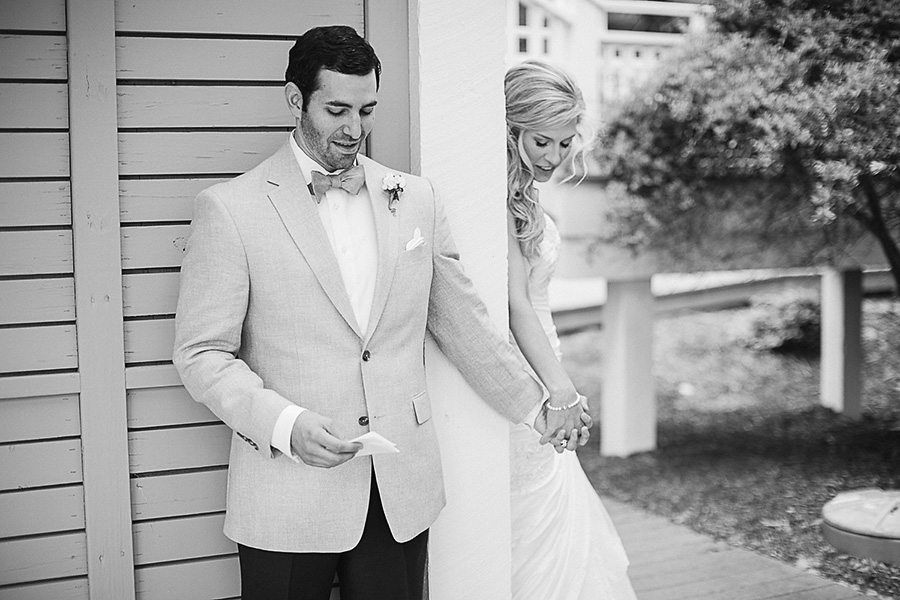 The Bride and Groom - Modern First Look Idea - Bald Head Island Wedding - Photo by Eric Boneske